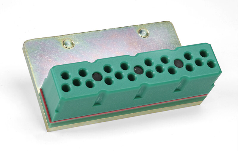 Riv-Nail rapid install system guide blocks from Conveyor Accessories are available in 20- and 40-rivet capacities.
